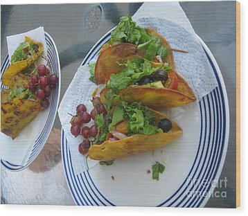 Wood Print featuring the photograph Tacos Almost Mirrored by Marie Neder