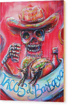 Wood Print featuring the painting Tacos De Barbacoa by Heather Calderon