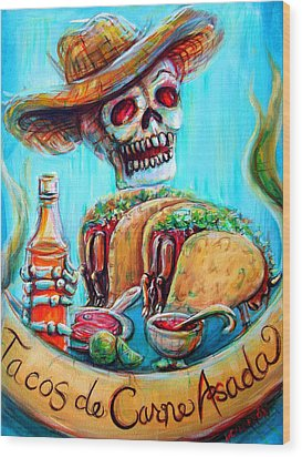 Wood Print featuring the painting Tacos De Carne Asada by Heather Calderon