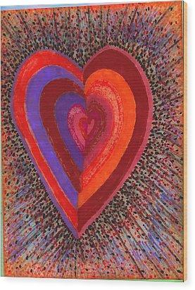 Tada Heart Wood Print by Brenda Adams