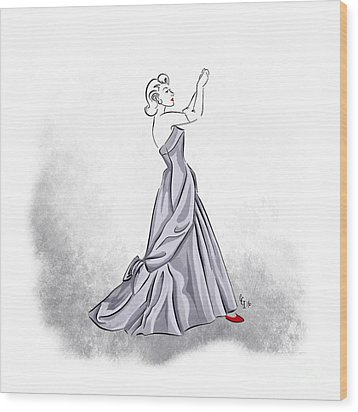 Wood Print featuring the digital art Taffeta Gown by Cindy Garber Iverson