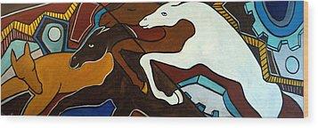 Taffy Horses Wood Print by Valerie Vescovi