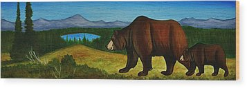 Taggart Lake Bears Wood Print by Lucy Deane