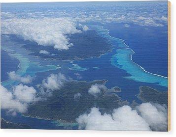 Tahiti Reefs From The Air Wood Print by Owen Ashurst
