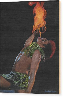 Tahitian Fire God Wood Print by Diane Bombshelter