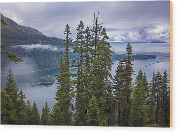Emerald Bay With Steamboat Wood Print