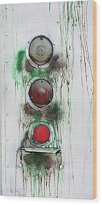 Wood Print featuring the photograph Taillights On A Very Old Bus by Gary Slawsky