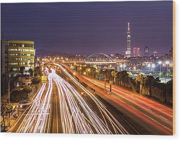 Taipei Light Trails At Night Wood Print by © copyright 2011 Sharleen Chao