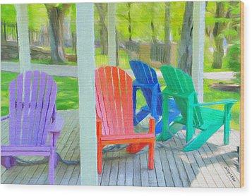 Take A Seat But Don't Take A Chair Wood Print by Jeff Kolker
