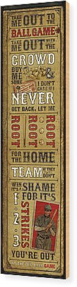 Take Me Out The The Ballgame Wood Print
