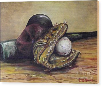 Take Me Out To The Ball Game Wood Print by Deborah Smith