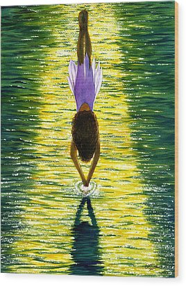 Take The Plunge Wood Print by Catherine G McElroy