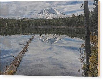 Takhlakh Lake With Mount Adams Wood Print