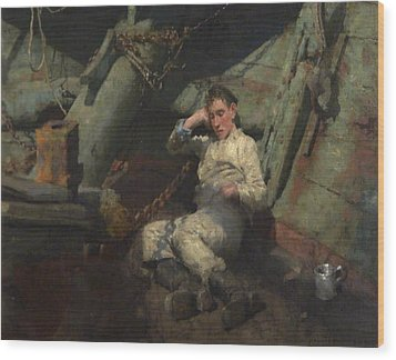 Wood Print featuring the painting Taking A Spell  by Henry Scott Tuke