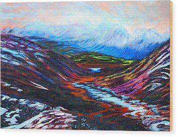 Taku River Headwaters Wood Print by Faye Dietrich
