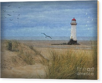 Wood Print featuring the digital art Talacre Lighthouse - Wales by Lianne Schneider