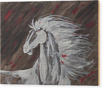 Tale Of The Wind Horse Wood Print by Stephane Trahan