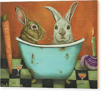 Tale Of Two Bunnies Wood Print by Leah Saulnier The Painting Maniac