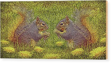 Tale Of Two Squirrels Wood Print