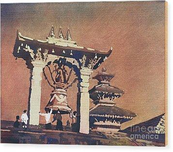 Wood Print featuring the painting Taleju Bell- Patan, Nepal by Ryan Fox