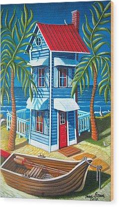 Tall Blue House Wood Print by Chris Boone