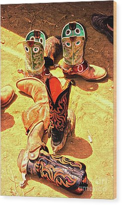 Tall Boots Wood Print by Gus McCrea