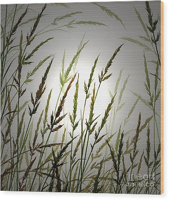 Wood Print featuring the digital art Tall Grass And Sunlight by James Williamson