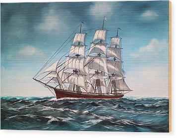 Tall Ship At Sea Wood Print