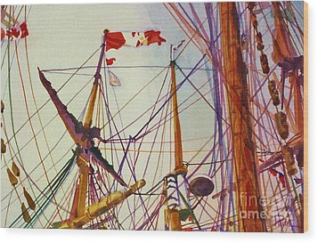 Tall Ship Lines Wood Print