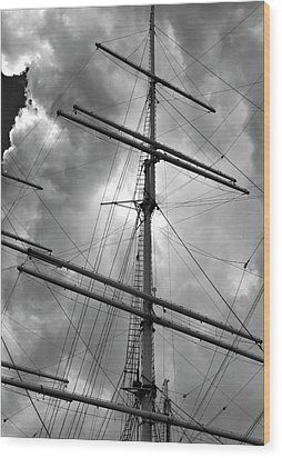 Tall Ship Masts Wood Print by Robert Ullmann