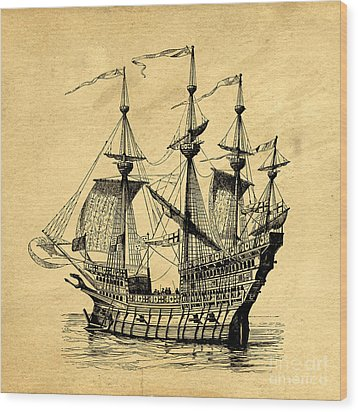 Wood Print featuring the drawing Tall Ship Vintage by Edward Fielding