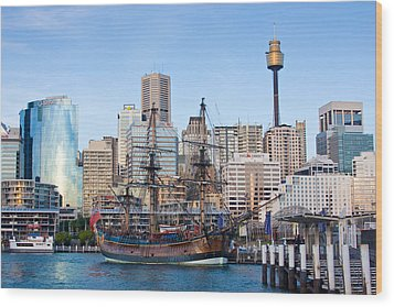 Tall Ships - Sydney Harbor Wood Print