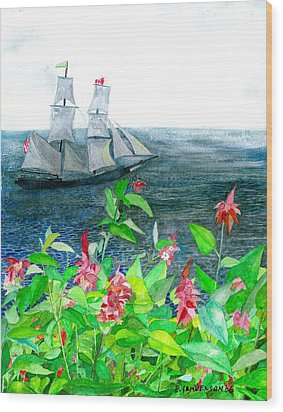 Tall Ships In Victoria Bc Wood Print by Eric Samuelson