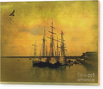 Tall Ships Of Dana Point Wood Print by Kevin Moore