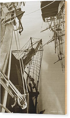 Tall Ships Reflected Wood Print by Robert Lacy