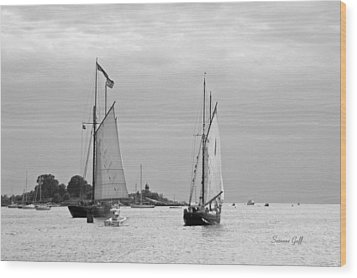 Tall Ships Sailing I In Black And White Wood Print by Suzanne Gaff