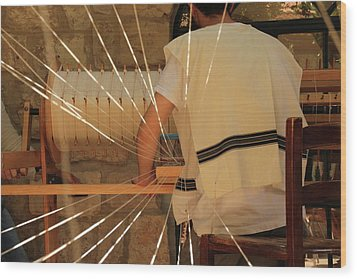 Jewish Prayer Shawl Weaving In Tzfat Wood Print by Yoel Koskas