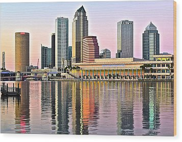 Tampa In Vivid Color Wood Print by Frozen in Time Fine Art Photography