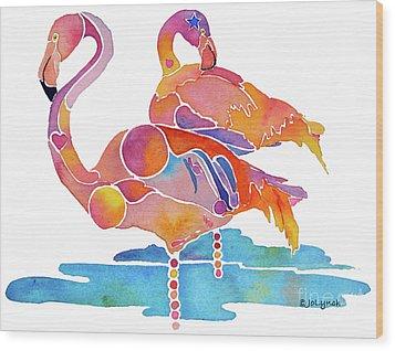 Tampa Nic Flamingos Wood Print