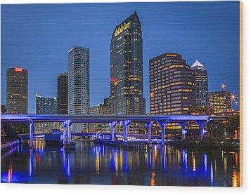 Tampa Night Wood Print