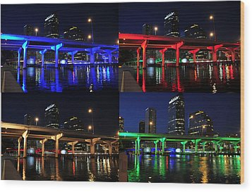 Wood Print featuring the photograph Tampa's Colorful Bridges by David Lee Thompson