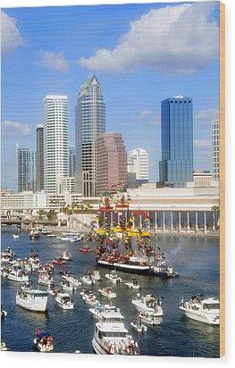 Tampa's Flag Ship Wood Print by David Lee Thompson