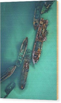 Tangalooma Wrecks Wood Print