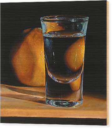 Tangerine And Shotglass Wood Print by Jeffrey Hayes