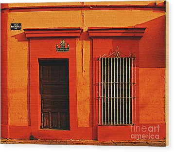 Tangerine Casa By Michael Fitzpatrick Wood Print by Mexicolors Art Photography
