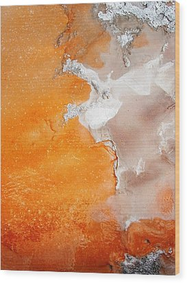 Tangerine Orange Geyser Pool Of Yellowstone Wood Print by The Forests Edge Photography - Diane Sandoval