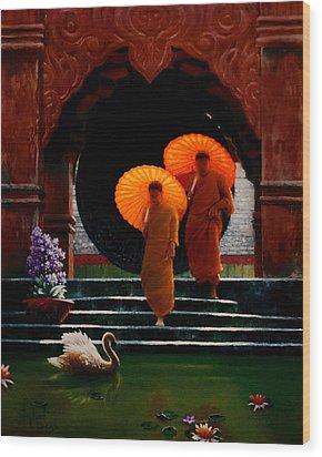 Tangerine Parasols Wood Print by Stephen Lucas