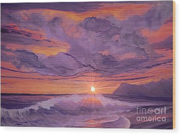 Tangerine Sky Wood Print by Holly Martinson