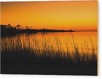 Tangerine Sunset Wood Print by Rich Leighton
