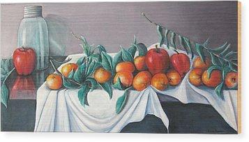 Tangerines And Apples Wood Print by Eileen Kasprick